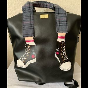 NWT Betsey Johnson Backpack/Tote Bag with Sneakers